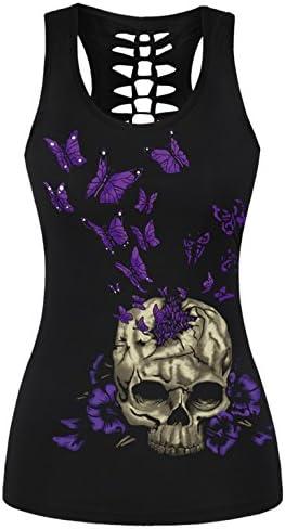 Aivtalk - Camiseta sin Mangas con Impresión Calavera Chaleco Casual Atractivo Verano para Chicas Mujeres