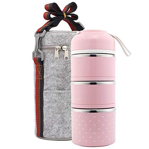 Frasco aislante térmico para alimentos, acero inoxidable a prueba de fugas y desbordamiento de Barril de aislamiento de 3 capas con bolsa de aislamiento + Adultos Universal para niños,Pink