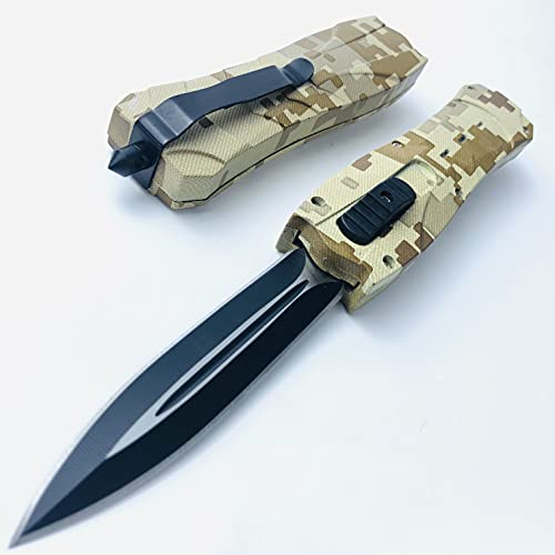 9 inch Tactical Dual Action EDC Knives for Outdoor Camping Survival Hunting Knife - Folding Fast Open Double Edge Blade ABS Handle (Full Blade)