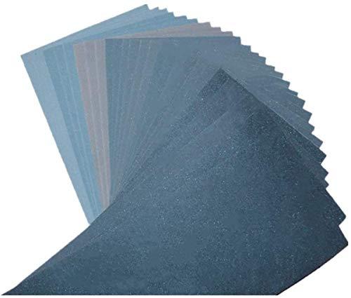 Papier de Verre Lot de 27, Pkouocry Papier Abrasif 23 x 9.3cm à Sec à l'Eau 400/600/800/1000/1200/1500/2000/2500/3000/4000/5000 (3 x 14) Feuilles/Grains (27)