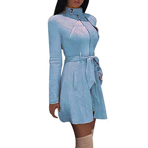 Vestido De Abrigo De Cuello Invierno para Mujer Modernas Casual De Tortuga Sólido Cremallera Arco Vendaje Cazadora Abrigo Largo Moda 2020 Ropa De Mujer (Color : Blau, One Size : L)