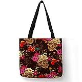 Compradores Cráneo de la impresión floral bolsa de asas de los bolsos de las mujeres de Halloween del cráneo del azúcar de la muchacha bolsas de la compra de gran capacidad algodón ( Color : 014...