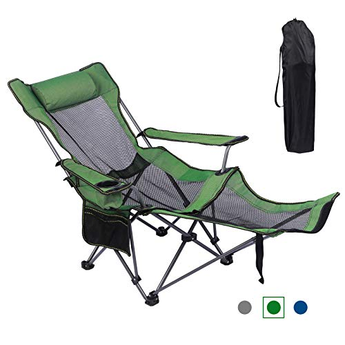 KEFOMOL Camping Lounge Chair, Portable Reclining Camping Chair, Folding Camping Chair with Footrest,Headrest & Storage Bag,Mesh Recliner with Backpack, 300lbs Weight Capacity (Green)