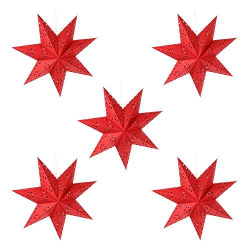 BESPORTBLE 5St. 45CM LED Weihnachtsstern Lampe Papier Lampenschirm 3D Außenstern Papierstern Laterne für Weihnachten Hochzeit Neujahr Party Hängende Dekoration Ornament Fensterdeko Rot