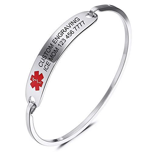 MOWOM Medical Grabado Personalizado Alerta De Emergencia Médica Brazalete Nombre Identificación De Identificación para Mujeres Chica Acero Inoxidable - (Plata Color, 65 Milímetro Diámetro)