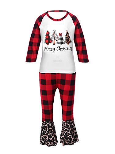 Alvivi Mädchen Kleidung Set Schlafanzug Weihnachten Pyjama Langarmshirt Hemd Tops...