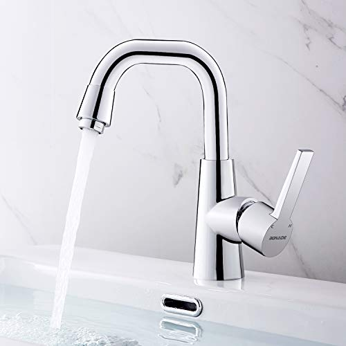 BONADE Waschtischarmatur 360° drehbare Küchenmischer Waschbeckenarmatur Einhebelmischer Badarmatur Chrom, Mischbatterie für Bad oder Küche
