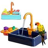 ZGHBZZY Alimentador de aves para mascotas Alimentador automático de aves para mascotas – Soporte de baño de loro, con grifo contenedor de alimentos, accesorio para pájaros