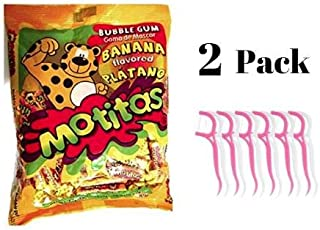 Motitas Bubble Gum Banana Flavored Mexican Candy 50 pc Platano Chicle (Pack of 2) Bundled with 20ct Dental Flossers in a Prime Time Direct Sealed Bag