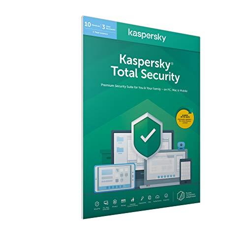 Kaspersky Total Security | 10 Geräte | 1 Jahr | FFP | Englische Verpackung | Installierbar in allen europäischen Sprachen|Standard|10 Geräte|1 Jahr|Windows/Mac/Android|Download|Download