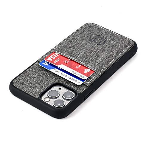 Dockem Luxe M2T Funda Cartera para iPhone 11 Pro (5.8): TPU Slim de la Serie M con Piel Sintética Diseño Tela y 2 Ranuras para Tarjetas con Placa de Metal Integrada para Soporte Magnético