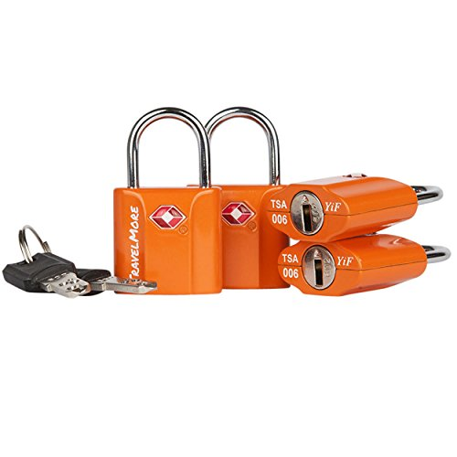 4 Pack TSA Approved Luggage Key Locks for Travel – Lock with Keys - Orange
