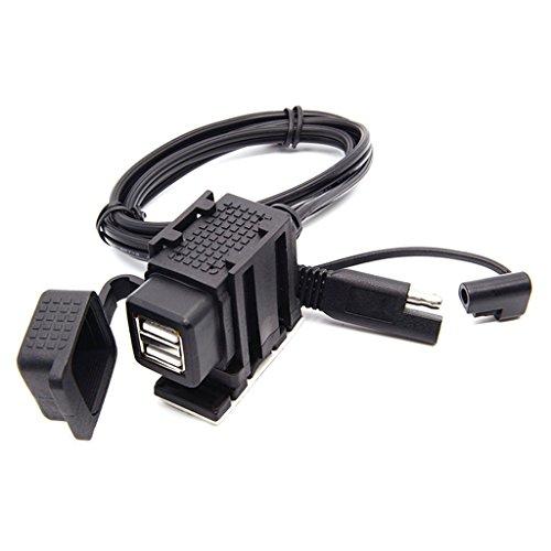 IPOTCH 12V Motocicleta 3.1A Doble Puerto SAE a USB Cable Adaptador Cargador Zócalo Negro