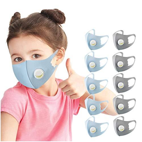Blingko 5 10 Stück Kinder Mundschutz Mit Ventil Verstellbaren Ohrschlaufen Einfarbig Staubdicht Waschbar Wiederverwendbare Mund-Nasen-Abdeckung Bandanas Halstuch für Jungen und Mädchen