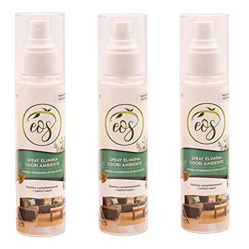 EOS Spray Naturale Elimina Odori Ambienti agli Oli Essenziali (Eucalipto, 3)