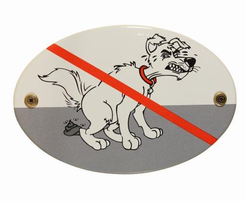 BBV Emaille Schild Kackhund 15x10 cm Hunde Hundekot Hundetoilette kein Hundeklo wetterfest lichtecht Emailleschild oval