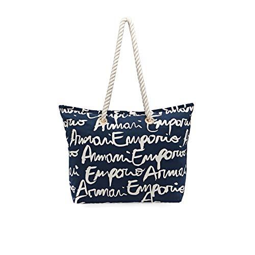Emporio Armani Borsa Mare Donna Logo Mania Shopper Blu 52 * 39 * 13 cm