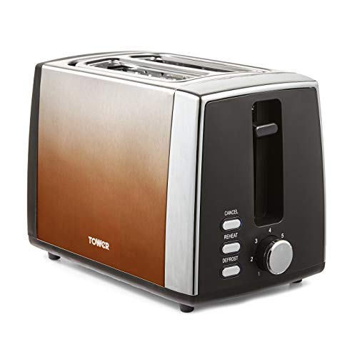 Tower T20038COP Ombre 2 Slice Toaster, 7 Settings, Removable Crumb Tray, 900 W, Copper, Steel