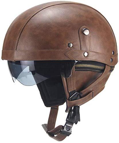 EBAYIN Cascos Half-Helmet Cascos Abiertos Medios Cascos Casco Motocicleta Retro Harley Medio Casco Cruiser Chopper Scooter Gorra De Colisión De Seguridad Gafas Integradas Casco Jet,A