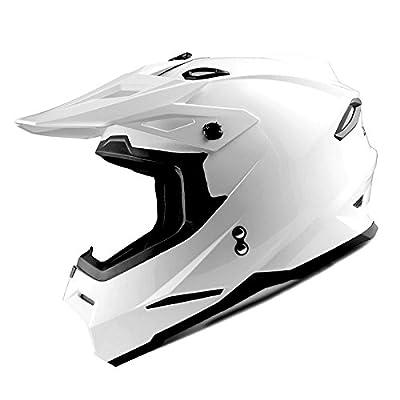 1Storm Adult Motocross Helmet BMX MX ATV Dirt Bike Helmet Racing Style HF801; Glossy White
