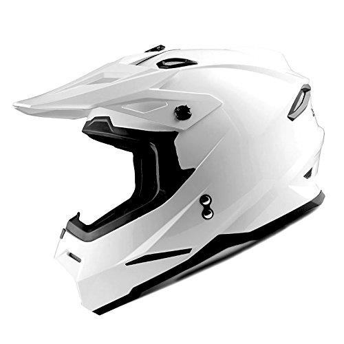 1Storm Adult Motocross Helmet BMX MX ATV Dirt Bike Helmet Racing Style HF801; Glossy White; Size L (57-58 cm,22.4/22.8 Inch)