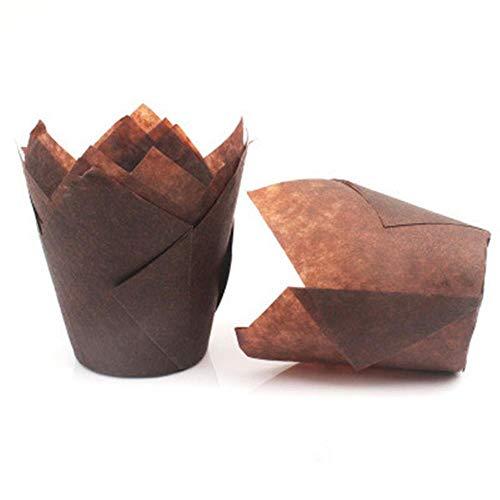 LEIXNDPLBO 50 Stück Öldichte Kucheneinlagen Muffinbecher Tulpenbackverpackung Cupcake-Papier Hochzeitsparty Cupcake Pappbecher-Etui, 50 Stück