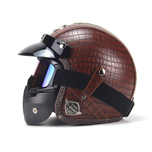 GYZ Casque - Casque de Moto pour Adulte à Face Ouverte avec Masque, Cuir rétro Moto électrique moitié Casque personnalité féminine Masculine ++ (Couleur : A, Taille : L)