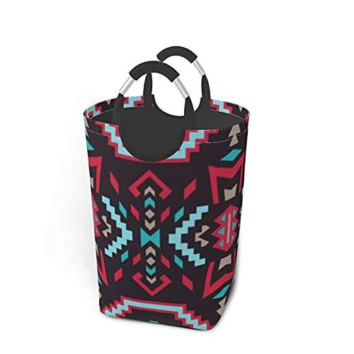 Native Southwest American Aztec Navajo sin costuras cuadrado sucio bolsa de ropa Sorter sucio organizador de ropa plegable cesta de lavandería extra grande