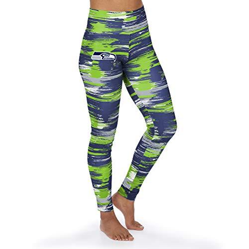Zubaz NFL Seattle Seahawks Damen Paint Legging, Navy Blue/Neon Green, Medium