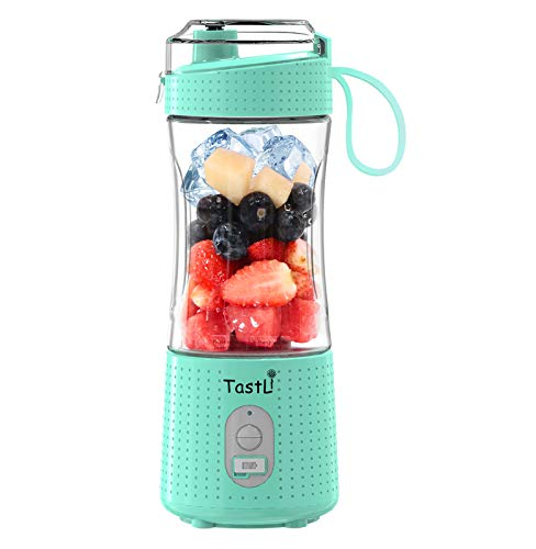 TastLi Personal Blender, Portable Travel Mini Ice Mixer Electric Smoothie Blender Juicer Cup Maker, with 13 oz Bottles, 6 Blades and USB 4000mAh Strong Power for shakes and smoothies (Sky blue)