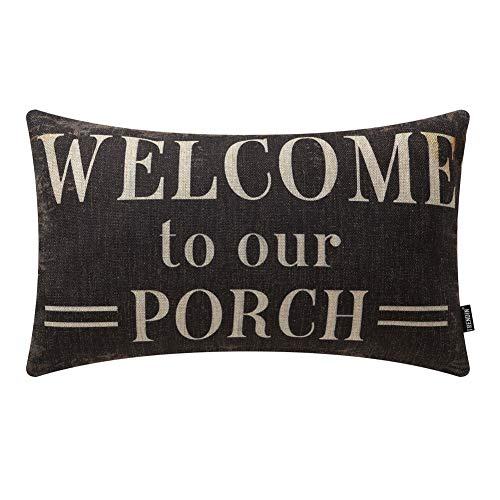 TRENDIN Decorative Throw Pillow Cover 20x12 inch Rustic Look Black Welcome to Our Porch Cushion Case Rectangular Shape PL347TR