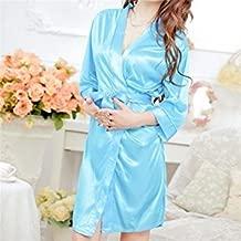 Tradico® New Cute Sleepwear Robe Night Gown Lingerie Satin Lace Kimono Intimate Women Underwear Size fit XS s 2