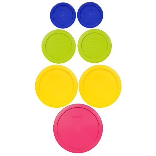Pyrex (1) 7402-PC 6/7 Cup Fuchsia (2) 7201-PC 4 Cup Meyer Yellow (2) 7200-PC 2 Cup Green Edamame (2) 7202-PC 1 Cup Cadet Blue Food Storage Lids - 7 Pack