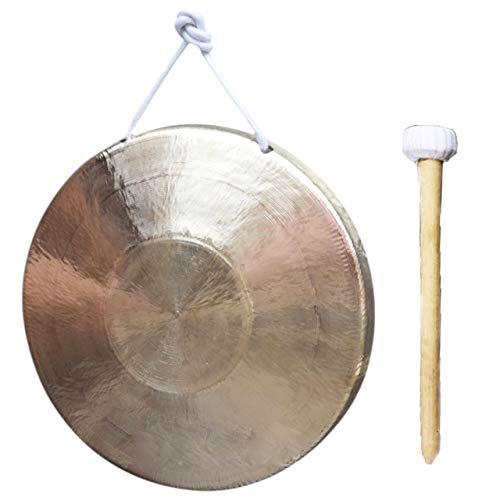 HIRAISM ドラ 銅羅 楽器 タムタム ゴング 打楽器 太鼓 合図 銅製 撥付き ゴールド