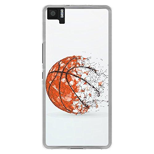 Funda Transparente para [ BQ Aquaris M5 ], Carcasa de Silicona Flexible TPU, diseño: Pelota de Baloncesto, Abstracto