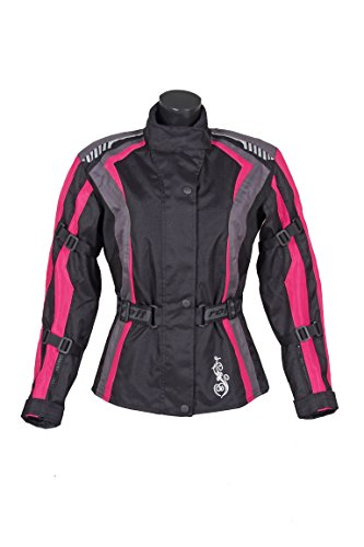 Roleff Racewear Damen Textil Motorradjacke mit Protektoren, Gute Belüftung, Taillierter Schnitt, Schwarz, Pink , Größe XXL - 2
