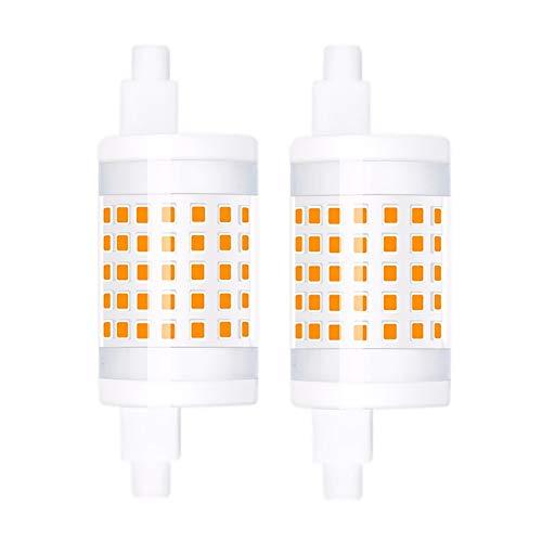 Luxvista Regulable R7s 10W 78mm J78 LED Bombilla, Doble Extremo Reflector Bombilla de intensidad variable con Bajo Consumo, Blanco Cálido 3000K, 10W Equivalente a 100W Lámpara Halógena (2-Pack)