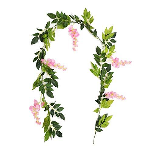 WANGJBH Dried Flowers 2M Wisteria Fleurs artificielles Vigne Guirlande De Mariage Décoration de Mariage Couronnes de Lierre Faux Plantes Feuillage Rotin Potpourri (Color : Pink)