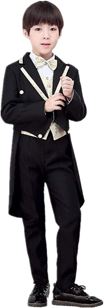 Tail Boy Suits Tuxedo Slim Fit Notch Lapel 5 Pieces (Jacket+Pants+Shirt+Vest+Bowtie) Party Performance