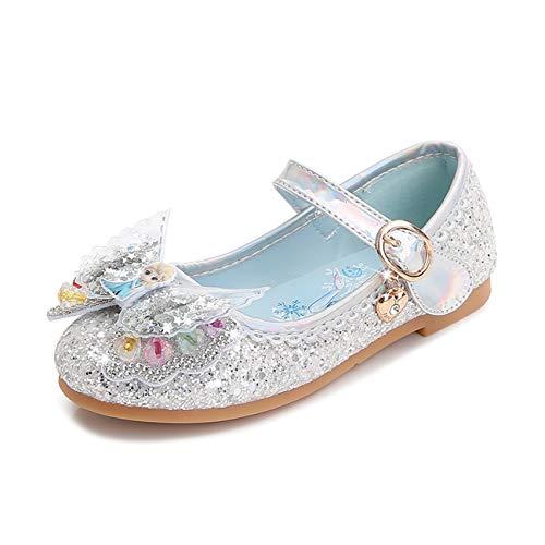 STRDK Niña Princesa Zapatos Sandalias Elsa Reina de Nieve Disfraz Zapatos de Cristal a Juego Niños Baile Zapatos de Tango Fiesta de Vestir Lentejuelas Arco Transparente Cosplay Fiesta Zapatos Azul