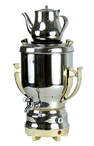 Home N Kitchenware Collection 4.5 Liter Electric Samovar w/teapot Stainless Steel, Silver & Gold Persian Teakettle Teapot, Samovar 4.5L Gold Silver