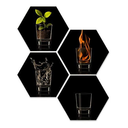 Hexagon Holz Birke-Furnier Vargas The four Elelments 4er Set Feuer Wasser Luft Erde Wandbild Wall-Art 25x22 cm