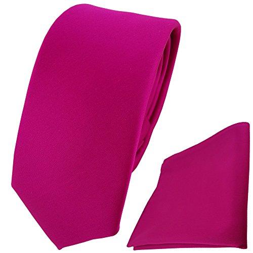 TigerTie - schmale Designer Krawatte Einstecktuch in magenta einfarbig einfarbig uni