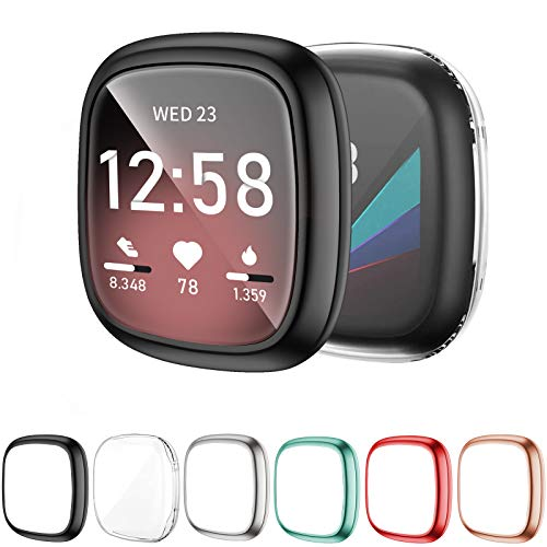 OMEE 6 Pack Funda para Compatible con Fitbit Sense/Versa 3, Paquete de Parachoques Suave Chapado en TPU Protector Funda Protectora Completa,Accesorios para Reloj Inteligente Fitbit Sense/Versa 3 (2)