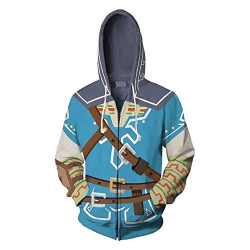 shuihua - Kapuzenpullover The Legend of Zelda - Link-Cosplay Hoodie, Anime 3D-Druck Hoody Zipper-Jacke (Color : Blue, Size : M)