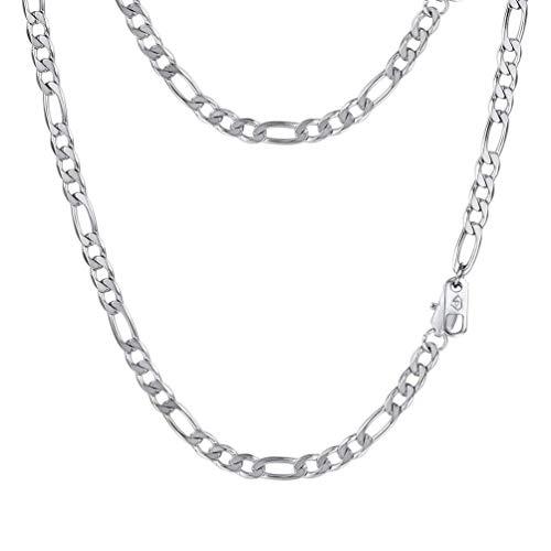 """PROSTEEL Chaîne Homme Acier Inoxydable Link Chain Maille Figaro 1+3 Bijoux Simple Largeur 4mm (Argenté; 18""""/46cm)"""