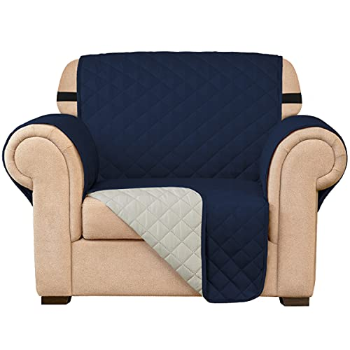 Subrtex Quilted Sofa Cover Reversible Sofa Protector 1,2,3 Seater Armchair Cover with Adjustable Elastic Straps, Side Storage Pocket (Chair, Navy)