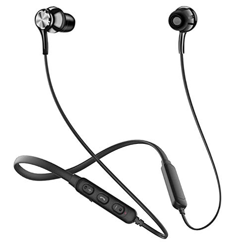 Wireless Bluetooth Neckband For iPhone 5s Bluetooth Headphone Gaming Earphone With Mic And Volume Controller Noise Isolating Stereo Sound Quality, Sweatproof Sports Headset, Professional Bluetooth 5.1 Wireless Stereo Sport Hi-Fi Sound Hands-Free Calling H17 - Black