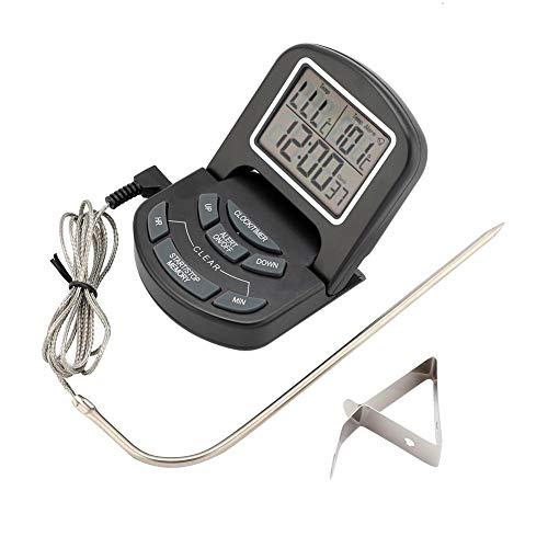 Sonda de termómetro digital para barbacoa EVTSCAN LCD, termómetro de cocina con temporizador de alertas digitales impermeables para barbacoa, carne, comida, té, pizza