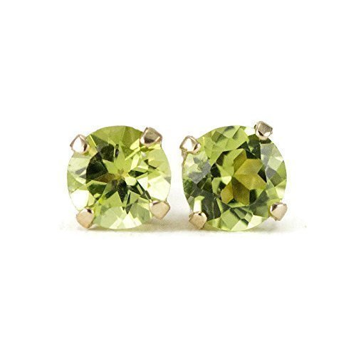 Peridot Gold Studs - August Birthstone Earrings - 14k Yellow or White Gold, 4mm or 5mm Stones